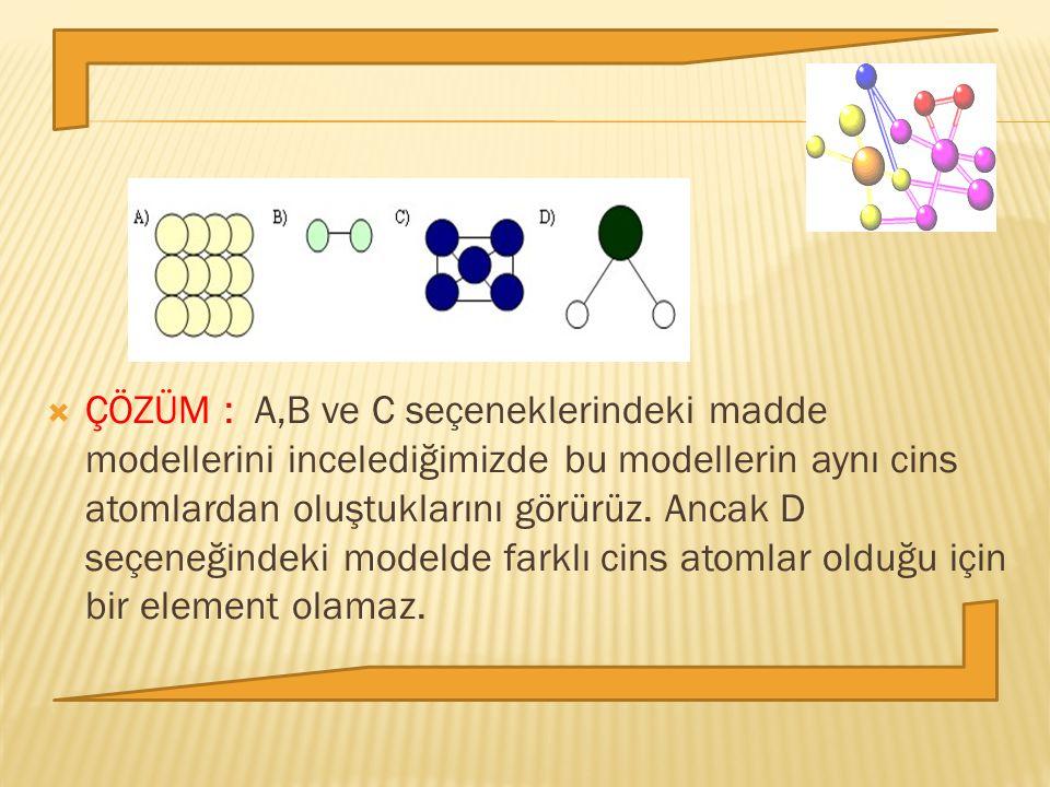  ÇÖZÜM : A,B ve C seçeneklerindeki madde modellerini incelediğimizde bu modellerin aynı cins atomlardan oluştuklarını görürüz. Ancak D seçeneğindeki