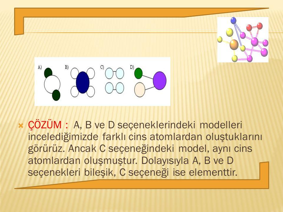  ÇÖZÜM : A, B ve D seçeneklerindeki modelleri incelediğimizde farklı cins atomlardan oluştuklarını görürüz. Ancak C seçeneğindeki model, aynı cins at