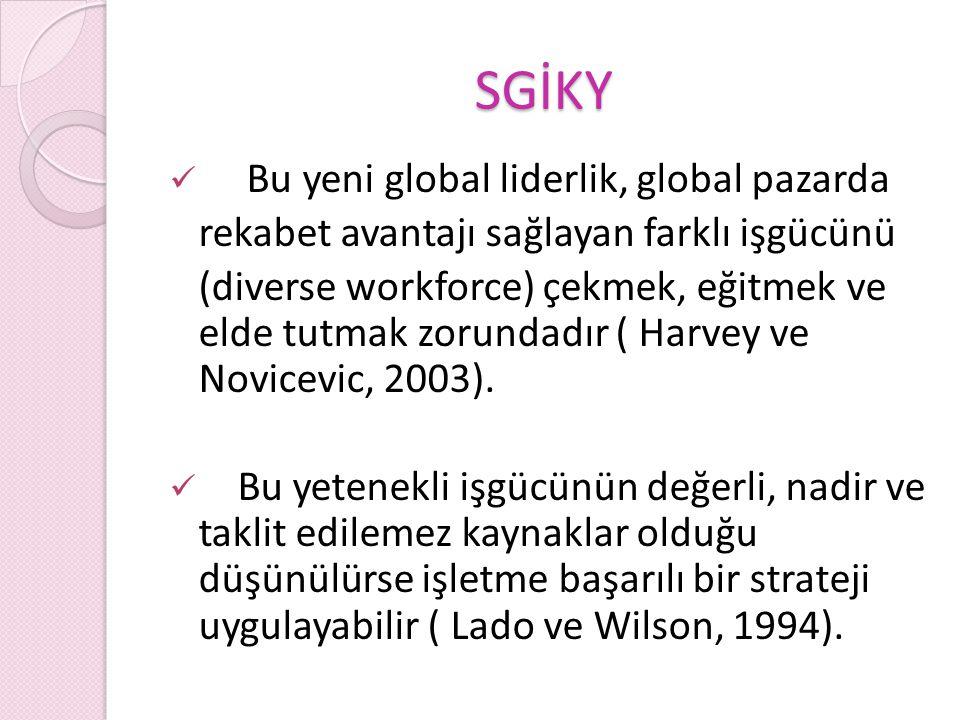 SGİKY Bu yeni global liderlik, global pazarda rekabet avantajı sağlayan farklı işgücünü (diverse workforce) çekmek, eğitmek ve elde tutmak zorundadır ( Harvey ve Novicevic, 2003).