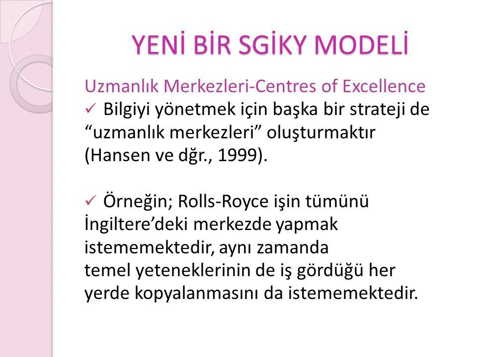 YENİ BİR SGİKY MODELİ Uzmanlık Merkezleri-Centres of Excellence Bilgiyi yönetmek için başka bir strateji de uzmanlık merkezleri oluşturmaktır (Hansen ve dğr., 1999).