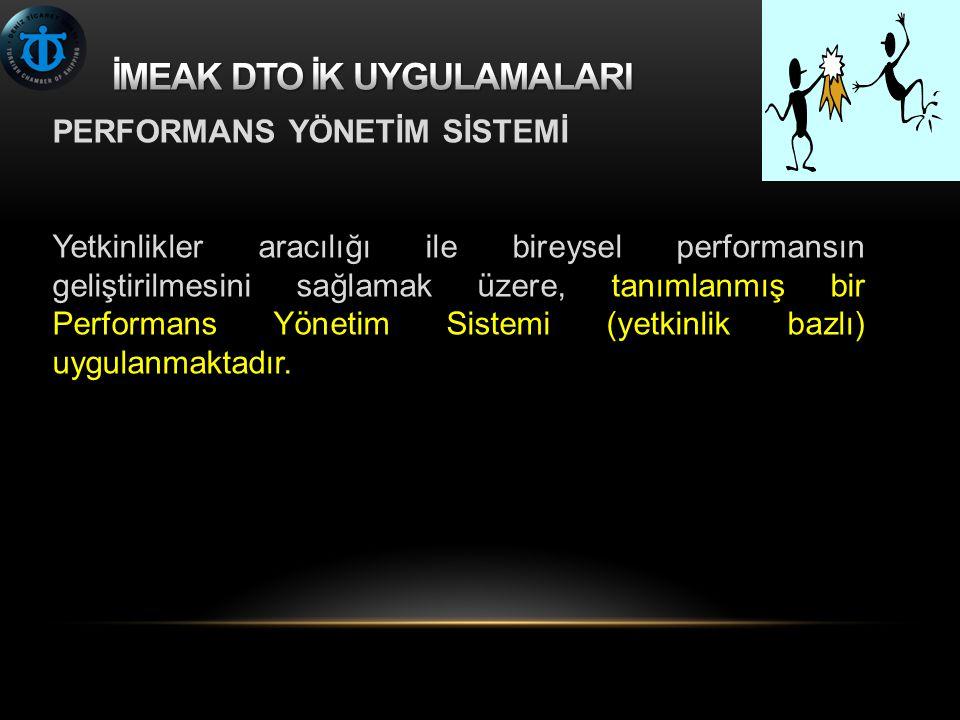 PERFORMANS YÖNETİM SİSTEMİ Yetkinlikler aracılığı ile bireysel performansın geliştirilmesini sağlamak üzere, tanımlanmış bir Performans Yönetim Sistemi (yetkinlik bazlı) uygulanmaktadır.