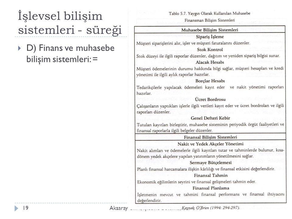 İşlevsel bilişim sistemleri - süreği Aksaray Üniv., İ şletme Bölümü, ISLT 31819  D) Finans ve muhasebe bilişim sistemleri: =