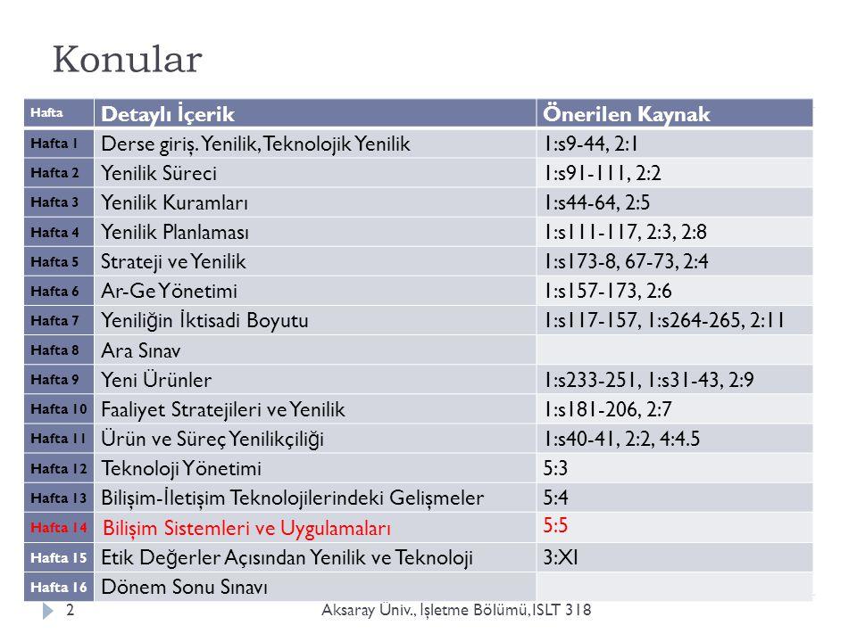 Konular Aksaray Üniv., İ şletme Bölümü, ISLT 3182 Hafta Detaylı İ çerik Önerilen Kaynak Hafta 1 Derse giriş.