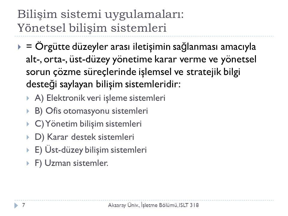 Bilişim sistemi uygulamaları: Yönetsel bilişim sistemleri Aksaray Üniv., İ şletme Bölümü, ISLT 3187  = Örgütte düzeyler arası iletişimin sa ğ lanması