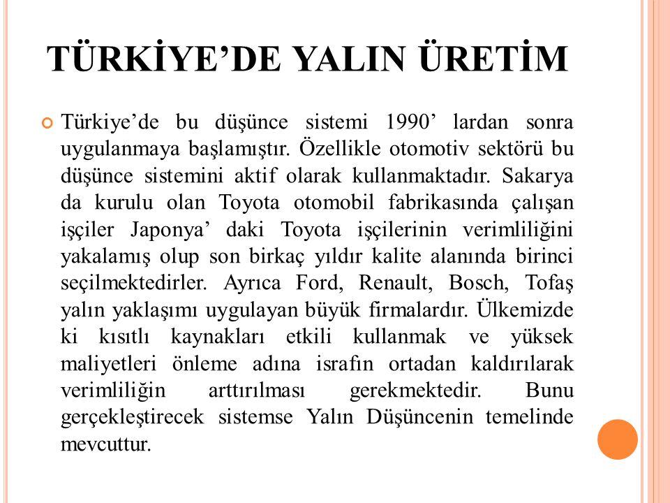 TÜRKİYE'DE YALIN ÜRETİM Türkiye'de bu düşünce sistemi 1990' lardan sonra uygulanmaya başlamıştır. Özellikle otomotiv sektörü bu düşünce sistemini akti