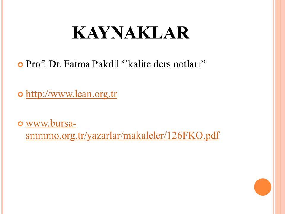KAYNAKLAR Prof. Dr. Fatma Pakdil ''kalite ders notları'' http://www.lean.org.tr www.bursa- smmmo.org.tr/yazarlar/makaleler/126FKO.pdf