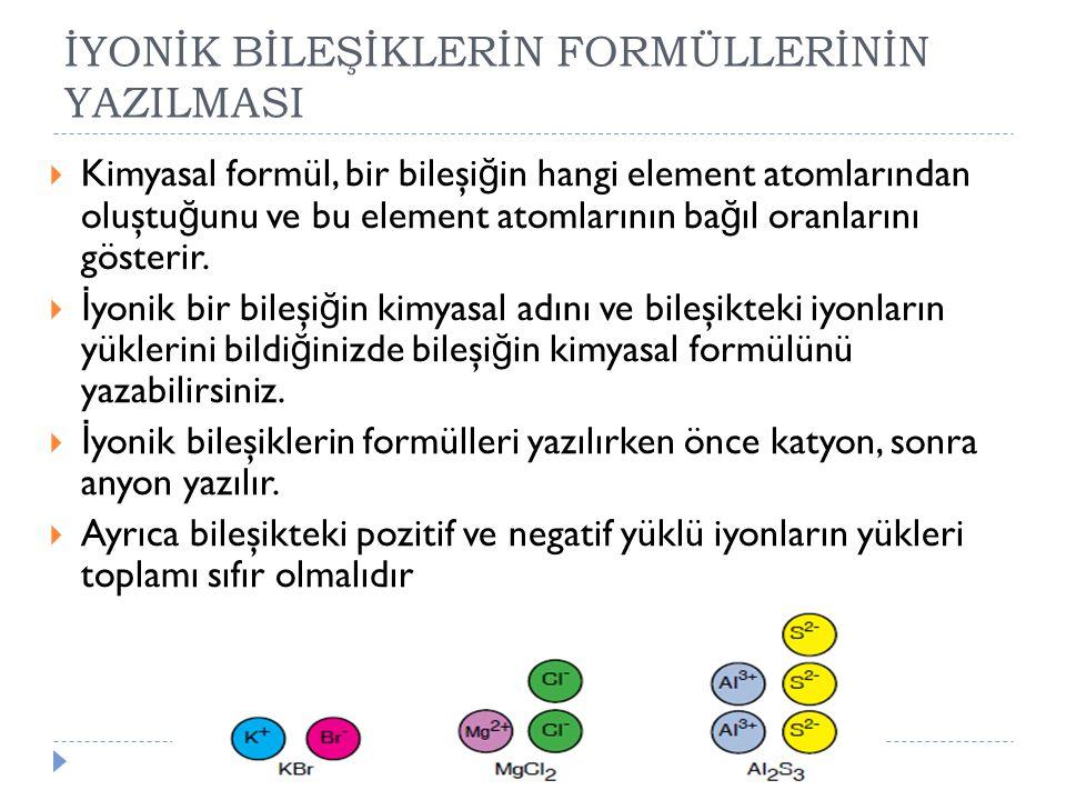 İYONİK BİLEŞİKLERİN FORMÜLLERİNİN YAZILMASI  Kimyasal formül, bir bileşi ğ in hangi element atomlarından oluştu ğ unu ve bu element atomlarının ba ğ