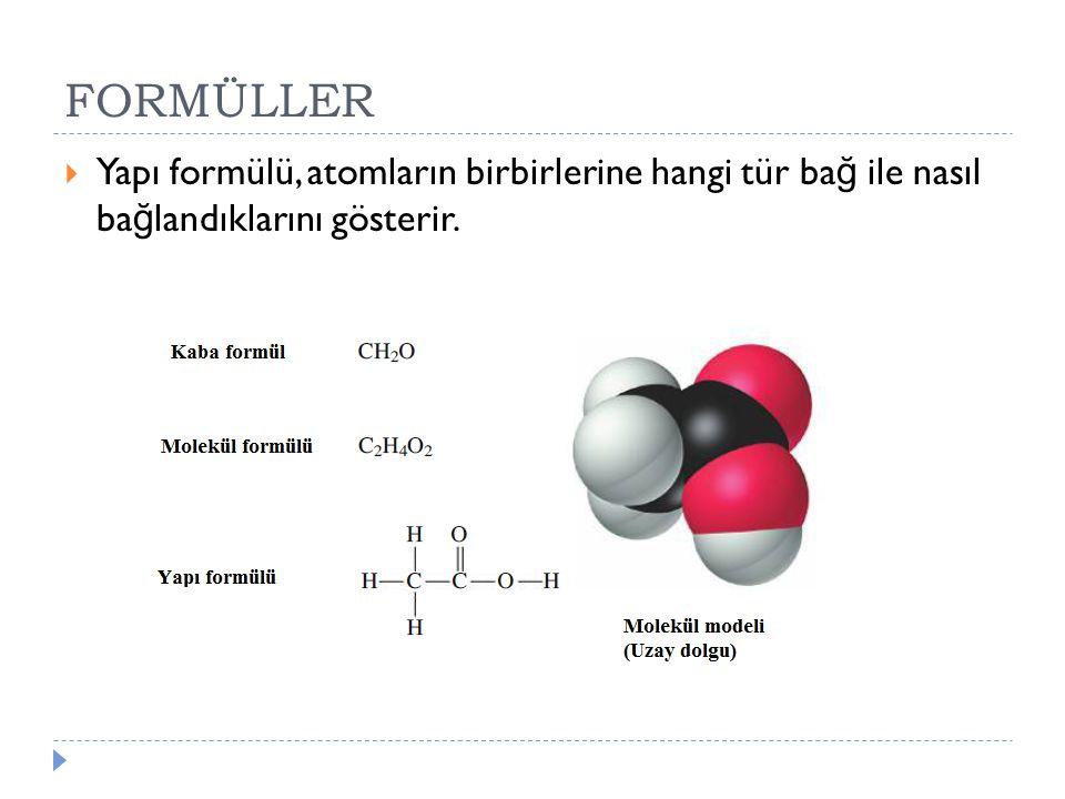 FORMÜLLER  Yapı formülü, atomların birbirlerine hangi tür ba ğ ile nasıl ba ğ landıklarını gösterir.