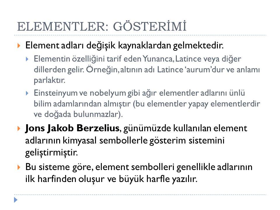 ELEMENTLER: GÖSTERİMİ  Element adları de ğ işik kaynaklardan gelmektedir.  Elementin özelli ğ ini tarif eden Yunanca, Latince veya di ğ er dillerden