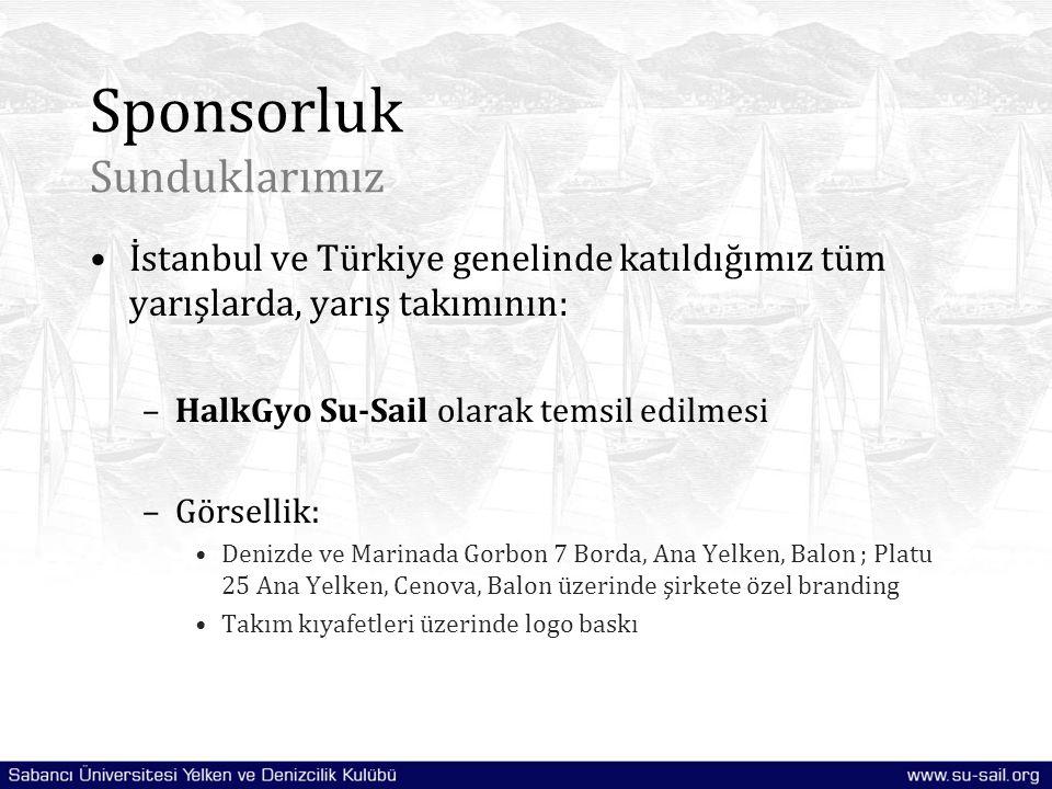 Sponsorluk Sunduklarımız İstanbul ve Türkiye genelinde katıldığımız tüm yarışlarda, yarış takımının: –HalkGyo Su-Sail olarak temsil edilmesi –Görselli