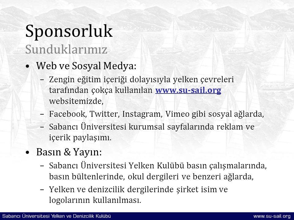 Sponsorluk Sunduklarımız Web ve Sosyal Medya: –Zengin eğitim içeriği dolayısıyla yelken çevreleri tarafından çokça kullanılan www.su-sail.org websitem