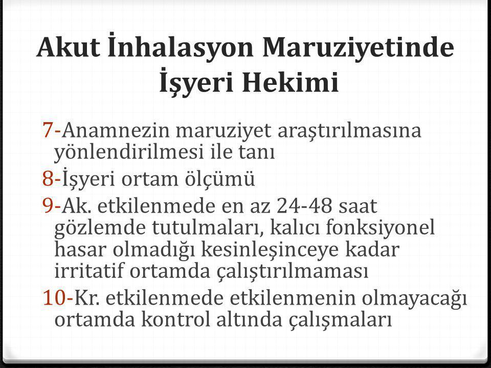Akut İnhalasyon Maruziyetinde İşyeri Hekimi 7-Anamnezin maruziyet araştırılmasına yönlendirilmesi ile tanı 8-İşyeri ortam ölçümü 9-Ak. etkilenmede en