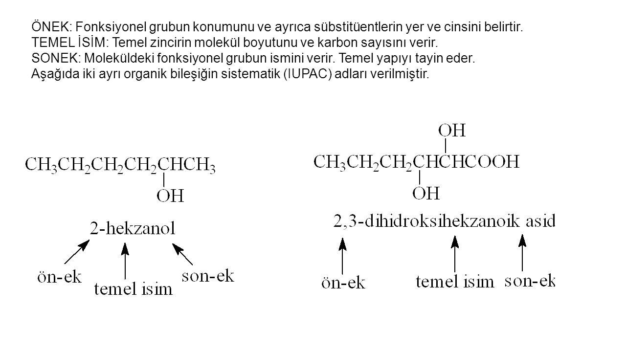 GrupAdıGrupAdıGrupAdı FFloroNO 2 NitroNH 2 Amino ClKloroOHHidroksiCNSiyano BrBromoCH 3 MetilOCH 3 Metoksi IİyodoC2H5C2H5 EtilORAlkoksi Önek olarak kullanılan bazı yapılar 3