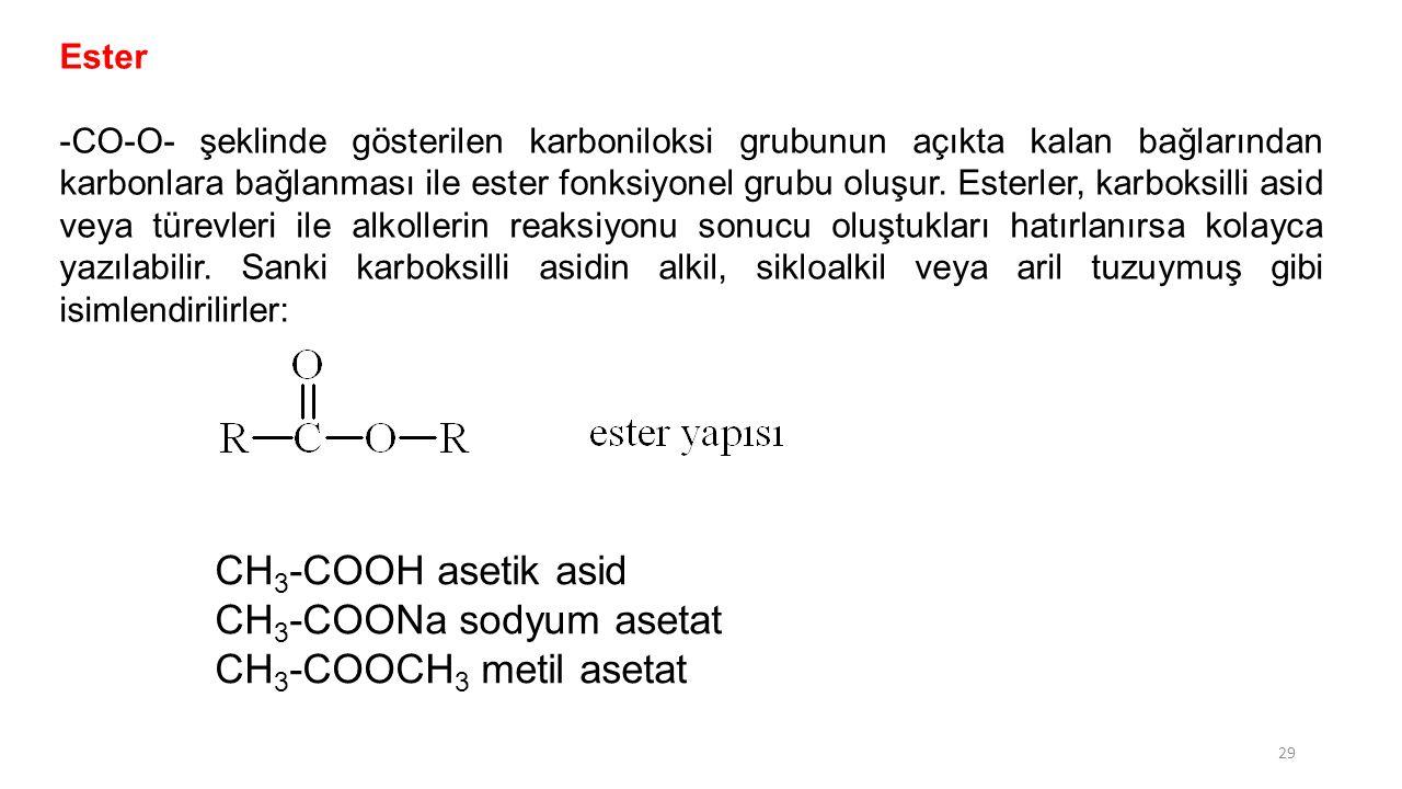 Ester -CO-O- şeklinde gösterilen karboniloksi grubunun açıkta kalan bağlarından karbonlara bağlanması ile ester fonksiyonel grubu oluşur. Esterler, ka