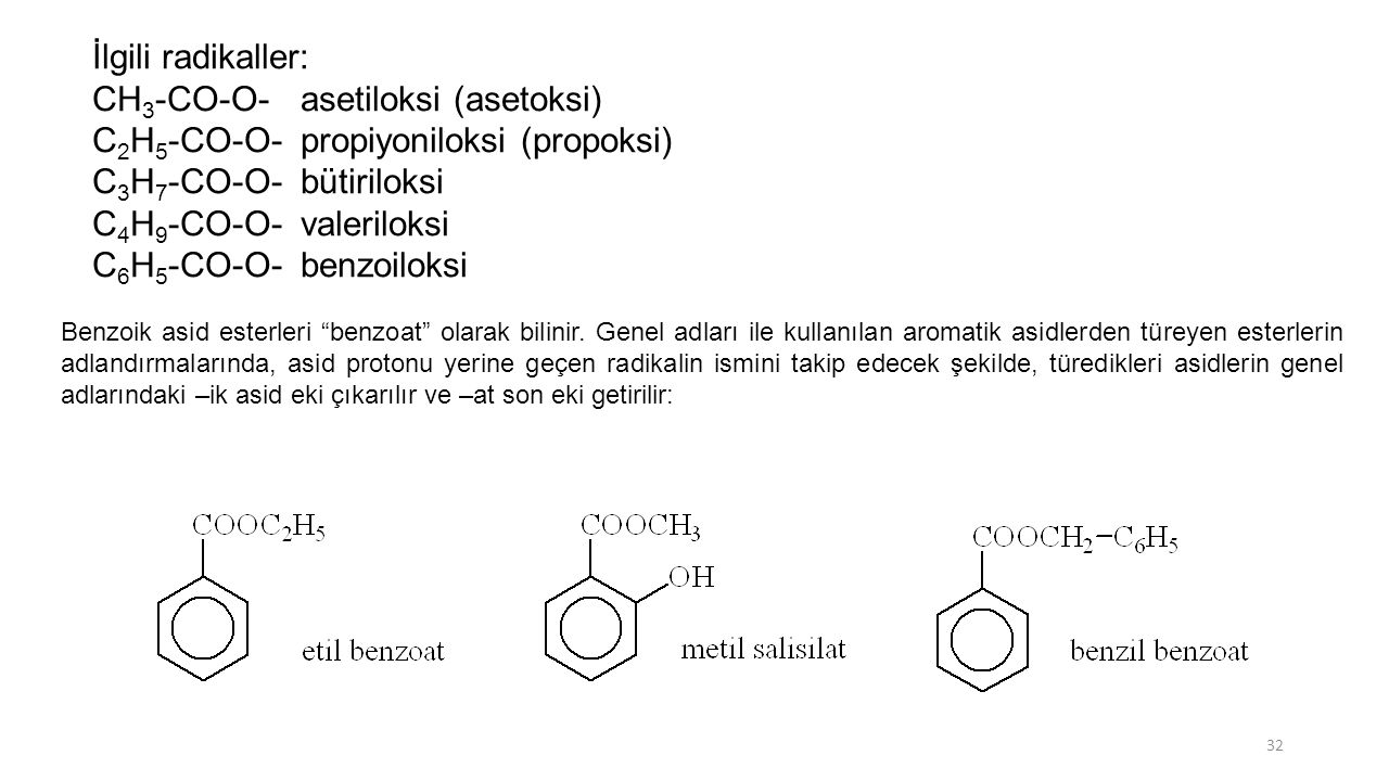 İlgili radikaller: CH 3 -CO-O-asetiloksi (asetoksi) C 2 H 5 -CO-O-propiyoniloksi (propoksi) C 3 H 7 -CO-O-bütiriloksi C 4 H 9 -CO-O-valeriloksi C 6 H