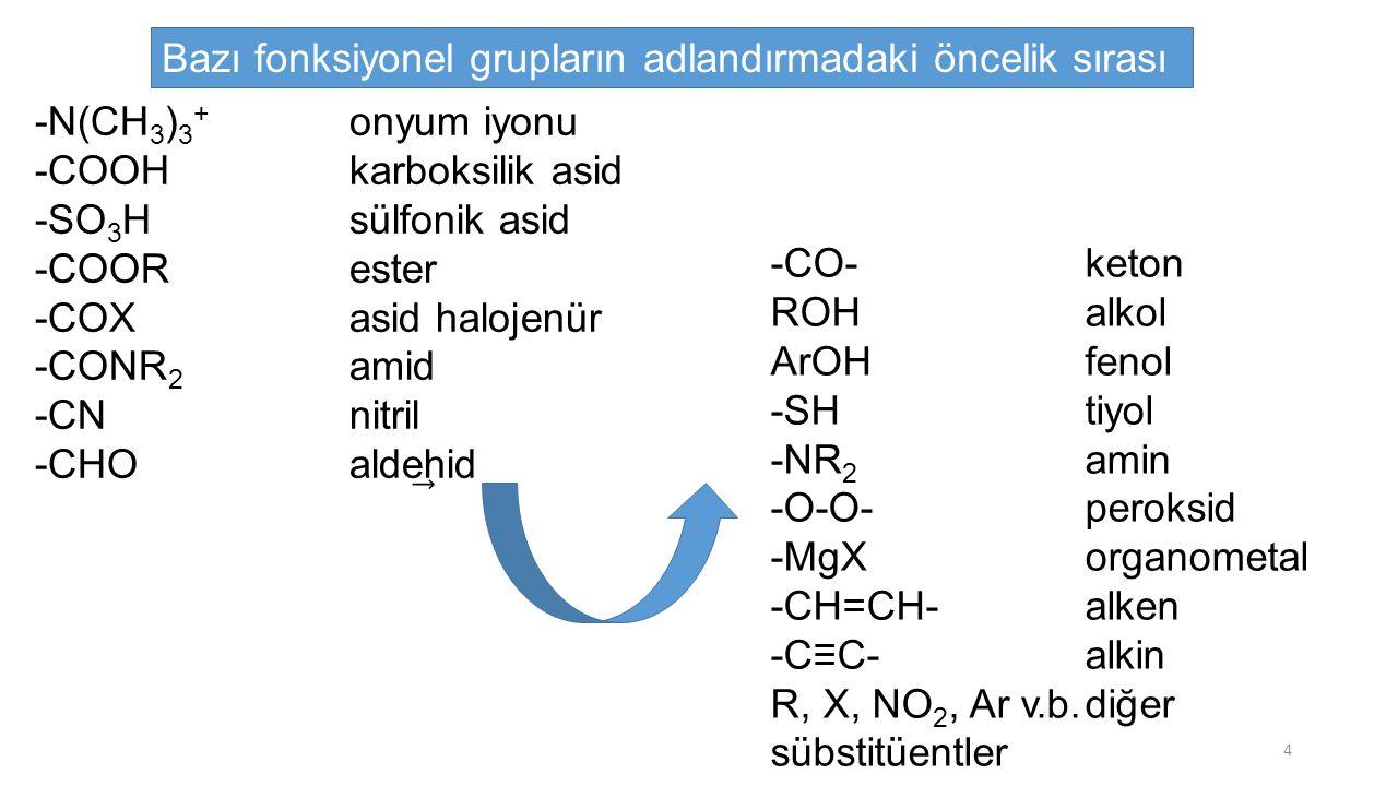 CH 3 -CH 2 -CH 2 -CH 2 -CH 2 -CHOhekzanal CH 3 -CH 2 -CH(C 2 H 5 )-CH 2 -CH 2 -CH(CH 3 )-CH 2 -CHO6-etil-3-metiloktanal CH 2 =CH-CHOakrolein (2-propenal) Eğer, -CHO grubu halkaya direkt olarak bağlıysa halka ismine karboksaldehid veya karbaldehid getirilir: 35
