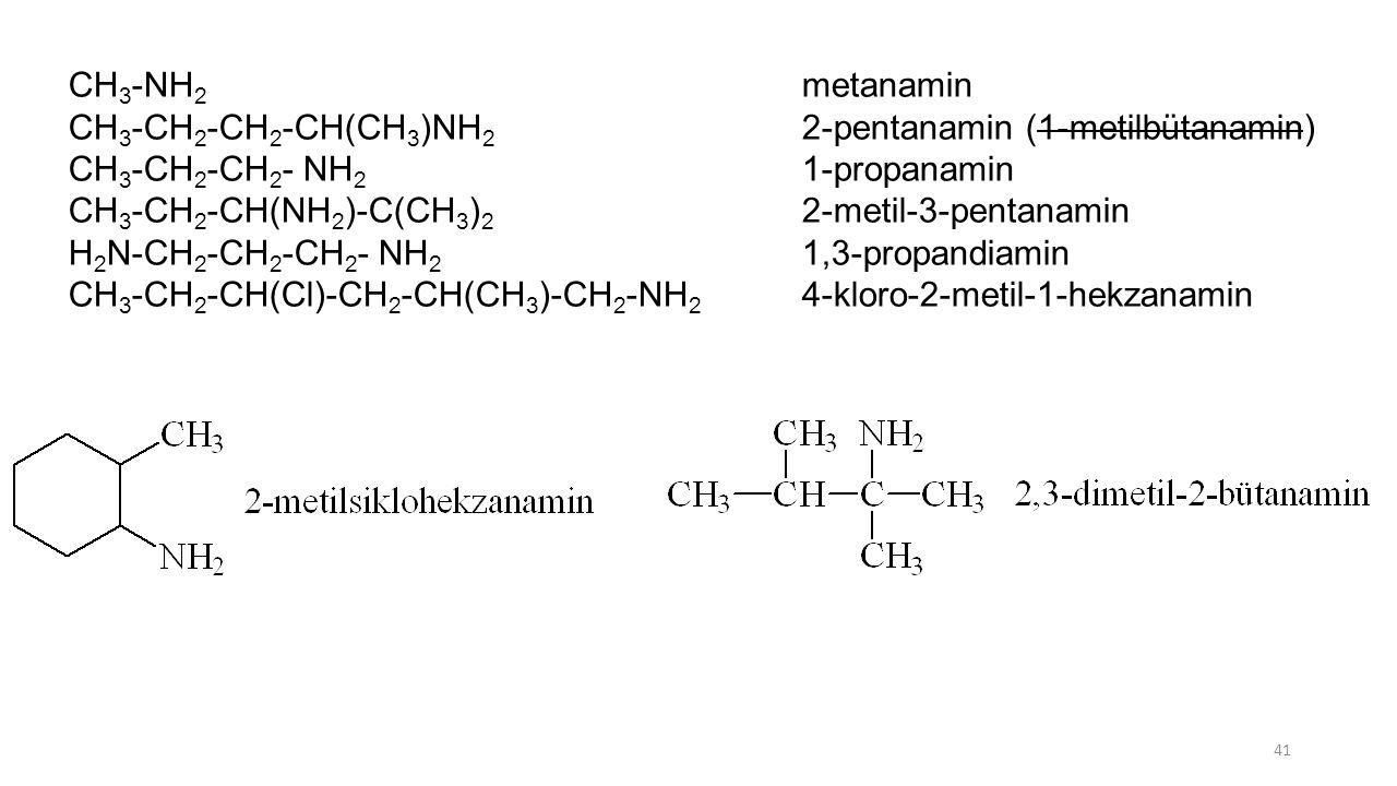 CH 3 -NH 2 metanamin CH 3 -CH 2 -CH 2 -CH(CH 3 )NH 2 2-pentanamin (1-metilbütanamin) CH 3 -CH 2 -CH 2 - NH 2 1-propanamin CH 3 -CH 2 -CH(NH 2 )-C(CH 3