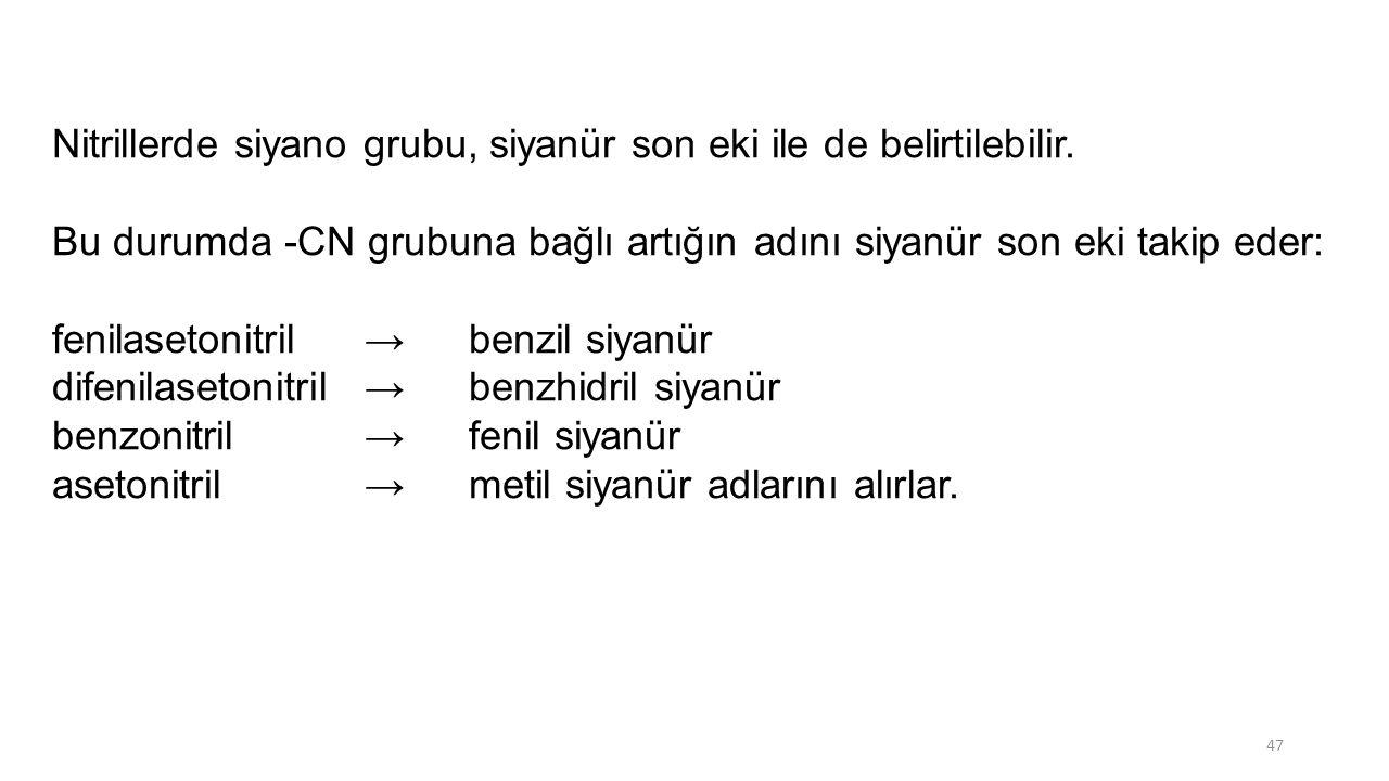 Nitrillerde siyano grubu, siyanür son eki ile de belirtilebilir. Bu durumda -CN grubuna bağlı artığın adını siyanür son eki takip eder: fenilasetonitr