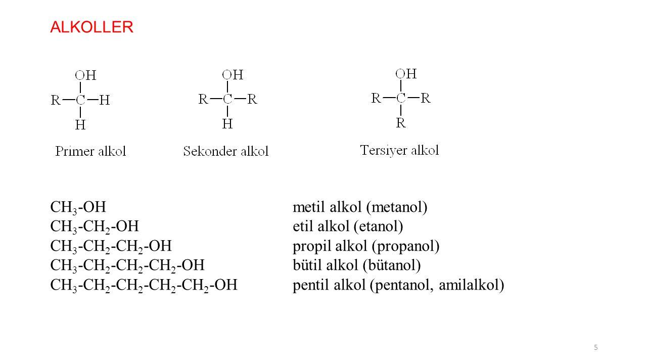 ALKOLLER CH 3 -OHmetil alkol (metanol) CH 3 -CH 2 -OHetil alkol (etanol) CH 3 -CH 2 -CH 2 -OHpropil alkol (propanol) CH 3 -CH 2 -CH 2 -CH 2 -OHbütil a