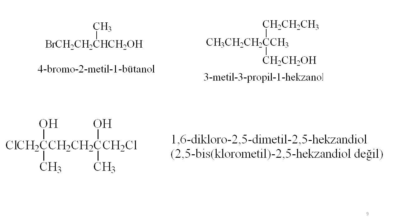 H-COORR format (R metanoat) CH 3 -COORR asetat(R etanoat) CH 3 -CH 2 -COORR propiyonat(R propanoat) CH 3 -CH 2 -CH 2 -COORR bütirat(R bütanoat) CH 3 -CH 2 -CH 2 -CH 2 -COORR valerat(R pentanoat) CH 3 -CH 2 -CH 2 -CH 2 -CH 2 -COORR kaproat(R hekzanoat) CH 3 -COOC 2 H 5 etil asetat (etil etanoat) CH 3 -CH 2 -COOC 2 H 5 etil propiyonat (etil propanoat) CH 3 -CH 2 -COOCH 2 -C 6 H 5 benzil propiyonat (benzil propanoat) CH 2 =CH 2 -COOCH 3 metil akrilat (metil propenoat) CH 3 -(CH 2 ) 8 -COOCH 3 metil dekanoat CH 3 -COO-CH 2 -CH=CH 2 allil asetat (2-propenil asetat) veya (2-propenil etanoat) 30