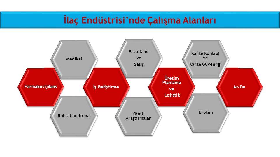 İlaç Endüstrisi'nde Çalışma Alanları Farmakovijilans İş Geliştirme Medikal Pazarlama ve Satış Ar-Ge Üretim Ruhsatlandırma Üretim Planlama ve Lojistik