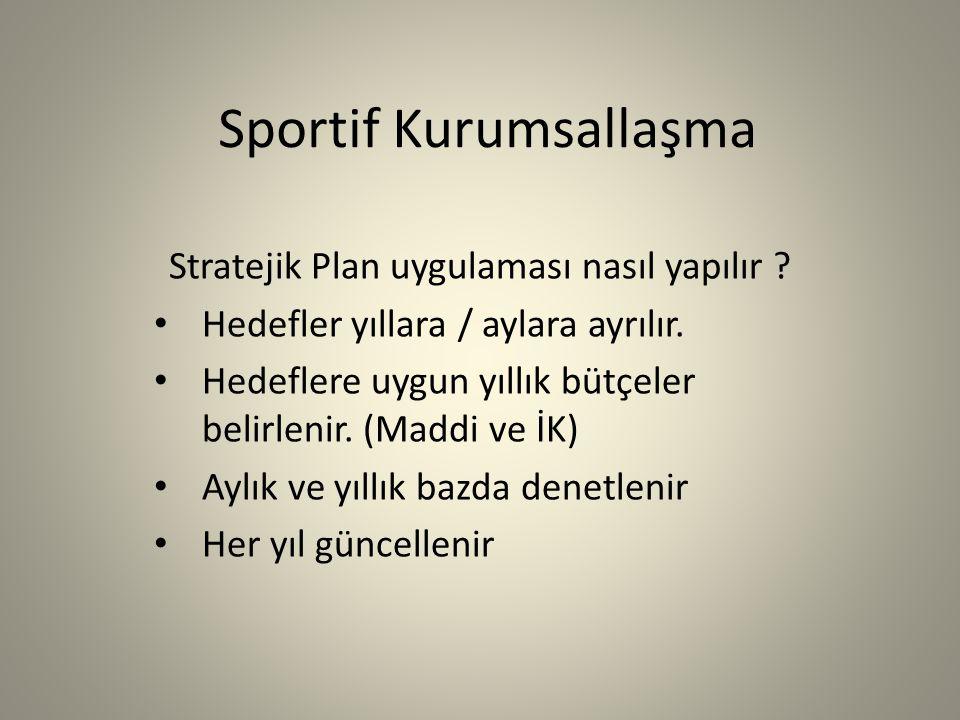 Sportif Kurumsallaşma Stratejik Plan uygulaması nasıl yapılır .