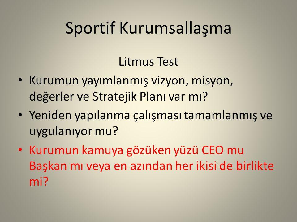 Sportif Kurumsallaşma Litmus Test Kurumun yayımlanmış vizyon, misyon, değerler ve Stratejik Planı var mı.