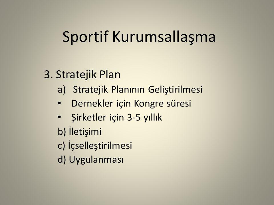 Sportif Kurumsallaşma Stratejik Plan nedir.