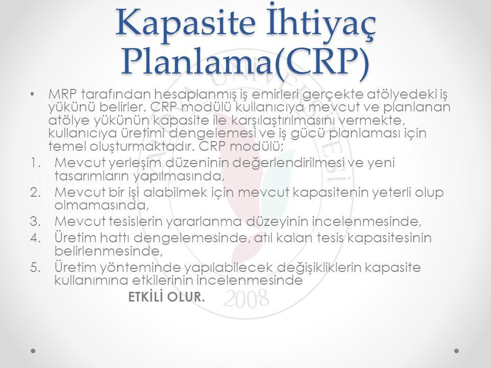 Kapasite İhtiyaç Planlama(CRP) MRP tarafından hesaplanmış iş emirleri gerçekte atölyedeki iş yükünü belirler. CRP modülü kullanıcıya mevcut ve planlan