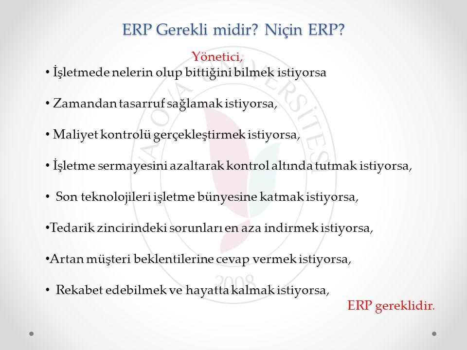 ERP Gerekli midir? Niçin ERP? Yönetici, İşletmede nelerin olup bittiğini bilmek istiyorsa Zamandan tasarruf sağlamak istiyorsa, Maliyet kontrolü gerçe
