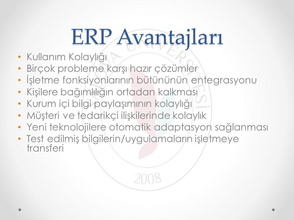 ERP Avantajları Kullanım Kolaylığı Birçok probleme karşı hazır çözümler İşletme fonksiyonlarının bütününün entegrasyonu Kişilere bağımlılığın ortadan