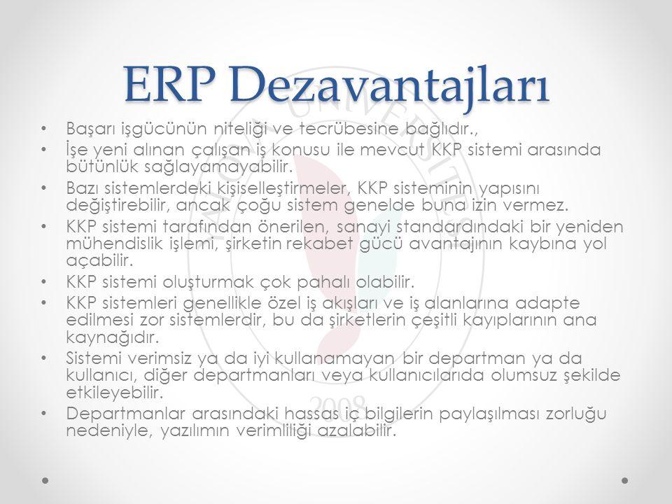 ERP Dezavantajları Başarı işgücünün niteliği ve tecrübesine bağlıdır., İşe yeni alınan çalışan iş konusu ile mevcut KKP sistemi arasında bütünlük sağl