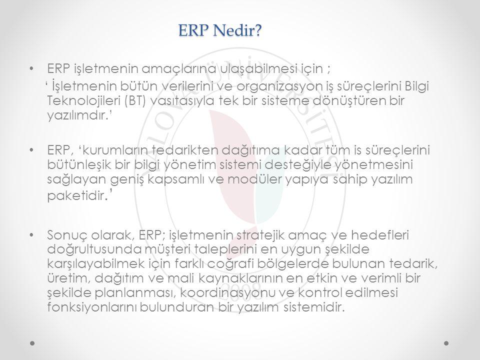 ERP Nedir? ERP işletmenin amaçlarına ulaşabilmesi için ; ' İşletmenin bütün verilerini ve organizasyon iş süreçlerini Bilgi Teknolojileri (BT) vasıtas