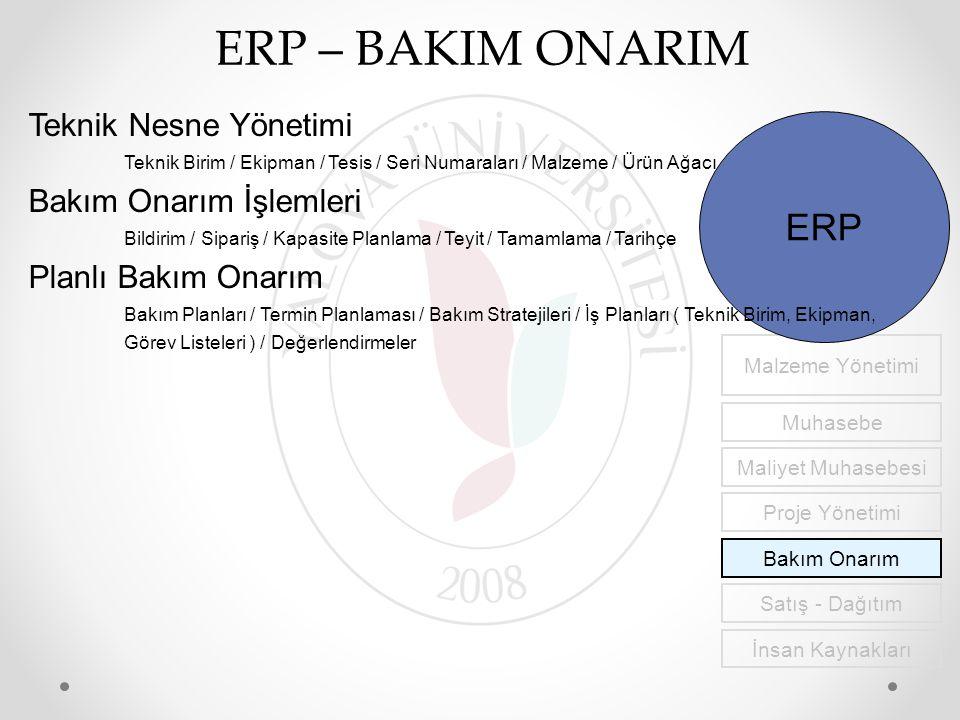ERP – BAKIM ONARIM İnsan Kaynakları Malzeme Yönetimi Muhasebe Maliyet Muhasebesi Proje Yönetimi Bakım Onarım Satış - Dağıtım ERP Teknik Nesne Yönetimi