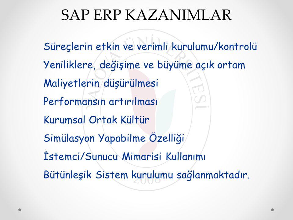 SAP ERP KAZANIMLAR Süreçlerin etkin ve verimli kurulumu/kontrolü Yeniliklere, değişime ve büyüme açık ortam Maliyetlerin düşürülmesi Performansın artı