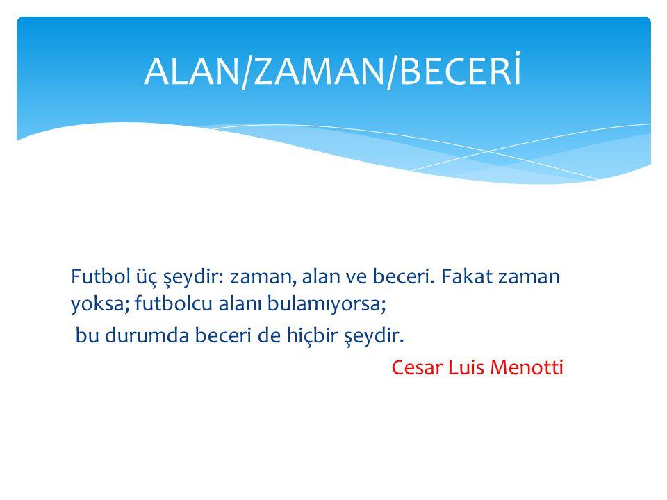 Futbol üç şeydir: zaman, alan ve beceri. Fakat zaman yoksa; futbolcu alanı bulamıyorsa; bu durumda beceri de hiçbir şeydir. Cesar Luis Menotti ALAN/ZA