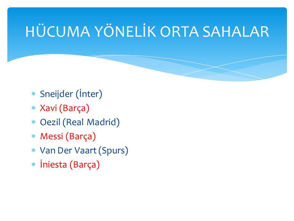  Sneijder (İnter)  Xavi (Barça)  Oezil (Real Madrid)  Messi (Barça)  Van Der Vaart (Spurs)  İniesta (Barça) HÜCUMA YÖNELİK ORTA SAHALAR