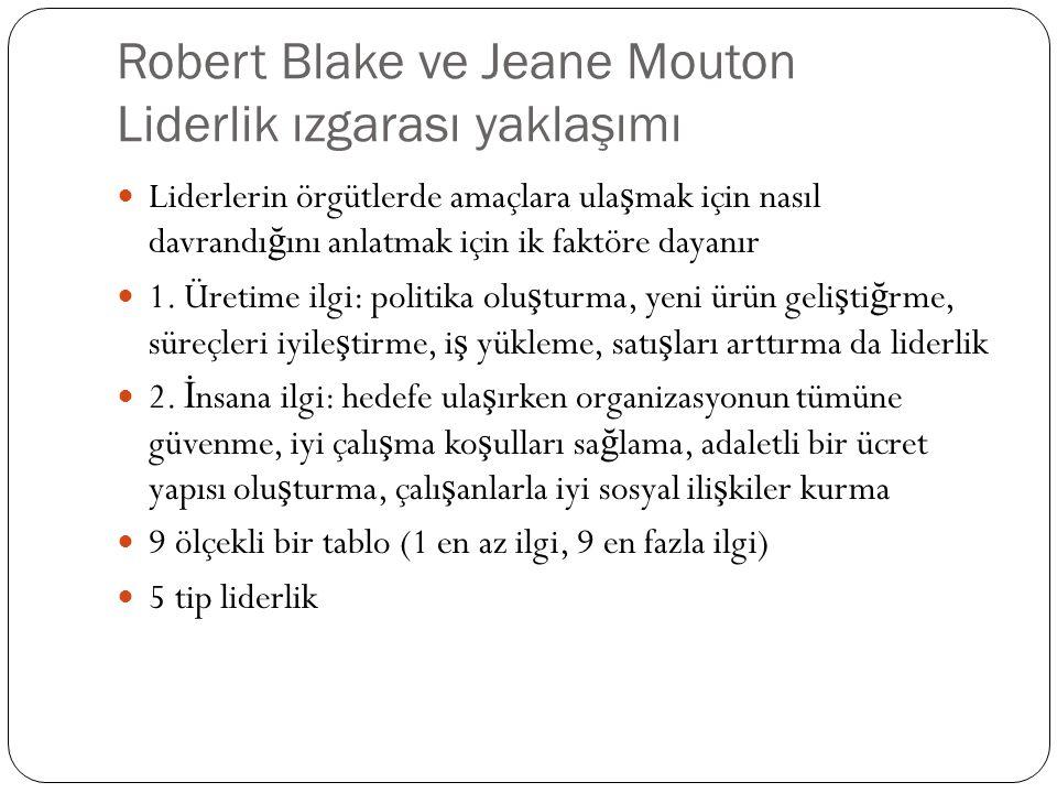 Robert Blake ve Jeane Mouton Liderlik ızgarası yaklaşımı Liderlerin örgütlerde amaçlara ula ş mak için nasıl davrandı ğ ını anlatmak için ik faktöre d