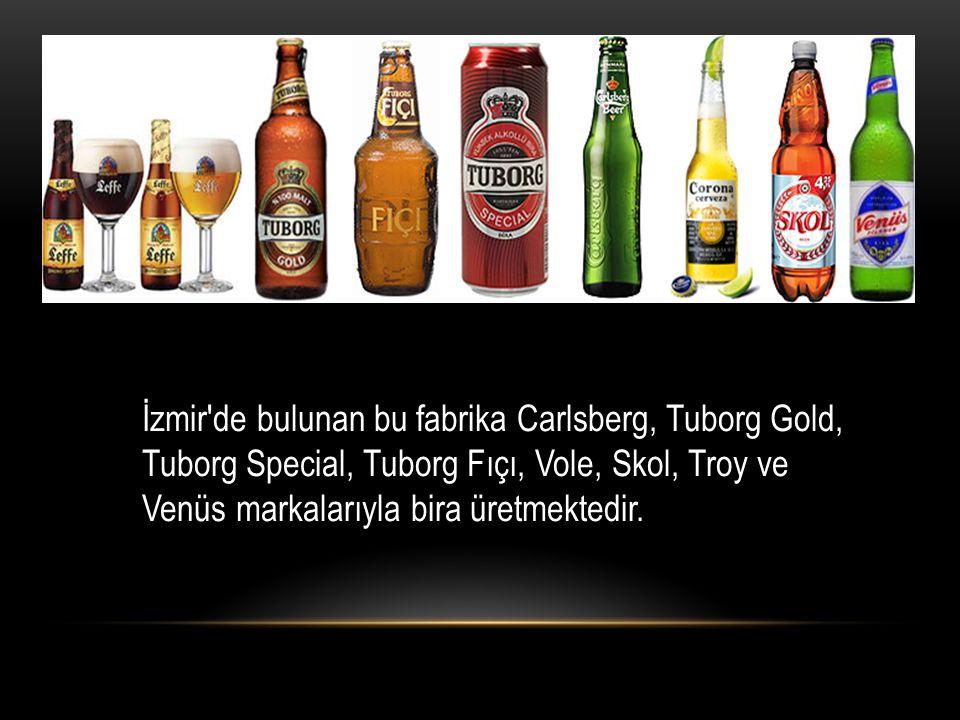 İzmir'de bulunan bu fabrika Carlsberg, Tuborg Gold, Tuborg Special, Tuborg Fıçı, Vole, Skol, Troy ve Venüs markalarıyla bira üretmektedir.