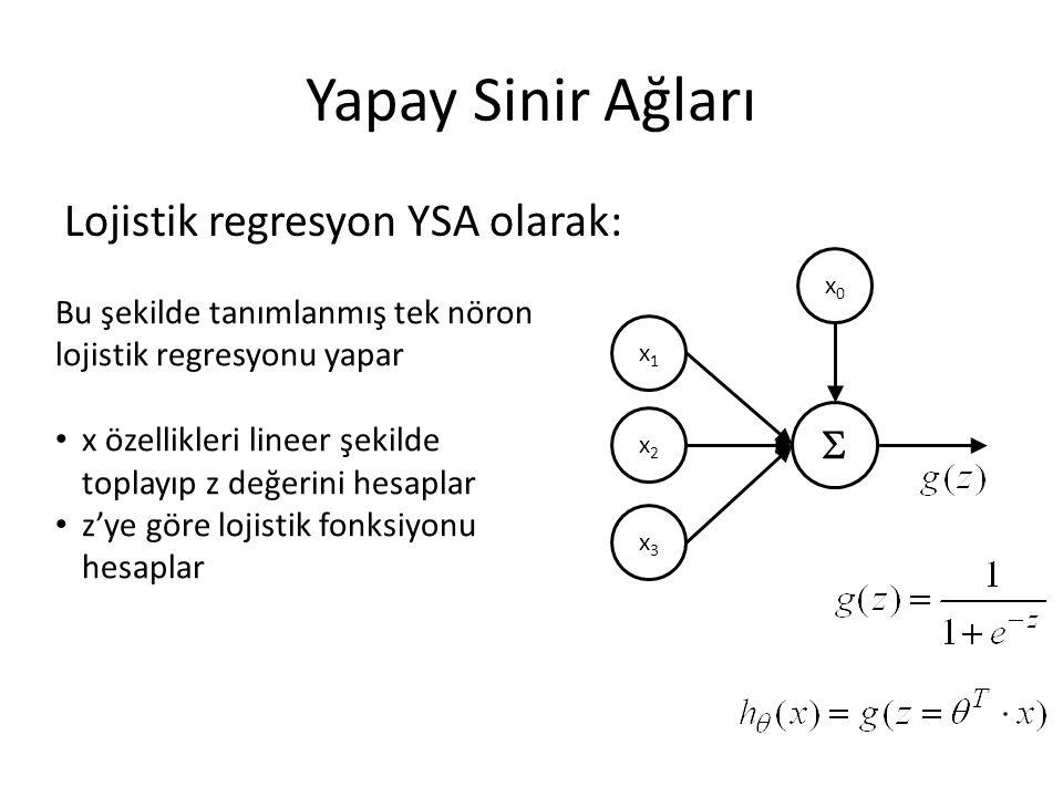 Yapay Sinir Ağları Lojistik regresyon YSA olarak:  x1x1 x2x2 x3x3 x0x0 Bu şekilde tanımlanmış tek nöron lojistik regresyonu yapar x özellikleri linee