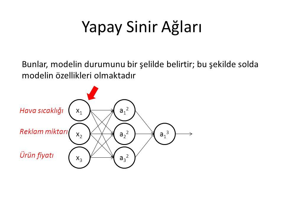 Yapay Sinir Ağları x1x1 x2x2 x3x3 a12a12 a22a22 a32a32 a13a13 Bunlar, modelin durumunu bir şelilde belirtir; bu şekilde solda modelin özellikleri olma