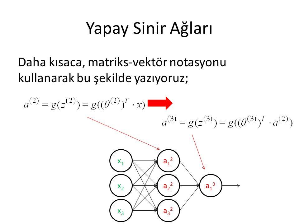Yapay Sinir Ağları Daha kısaca, matriks-vektör notasyonu kullanarak bu şekilde yazıyoruz; x1x1 x2x2 x3x3 a12a12 a22a22 a32a32 a13a13