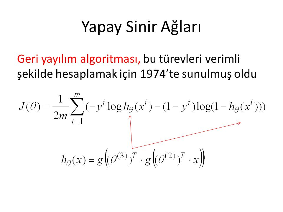 Yapay Sinir Ağları Geri yayılım algoritması, bu türevleri verimli şekilde hesaplamak için 1974'te sunulmuş oldu