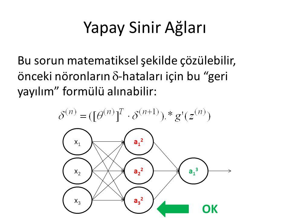 """Yapay Sinir Ağları Bu sorun matematiksel şekilde çözülebilir, önceki nöronların  -hataları için bu """"geri yayılım"""" formülü alınabilir: x1x1 x2x2 x3x3"""