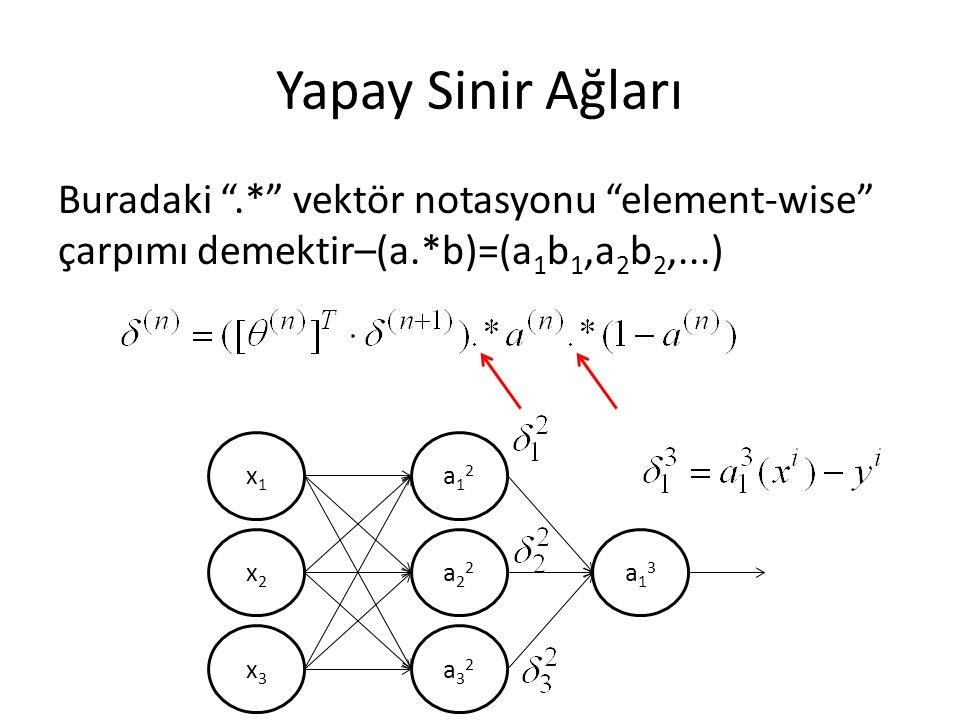 "Yapay Sinir Ağları Buradaki "".*"" vektör notasyonu ""element-wise"" çarpımı demektir–(a.*b)=(a 1 b 1,a 2 b 2,...) x1x1 x2x2 x3x3 a12a12 a22a22 a32a32 a13"