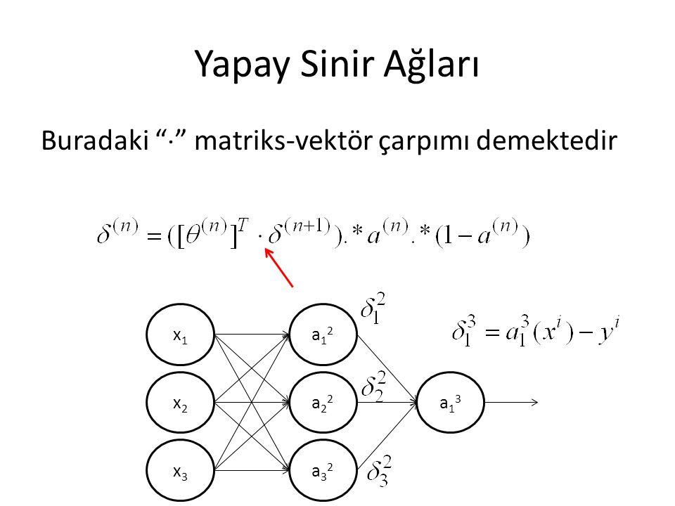"""Yapay Sinir Ağları Buradaki """"  """" matriks-vektör çarpımı demektedir x1x1 x2x2 x3x3 a12a12 a22a22 a32a32 a13a13"""