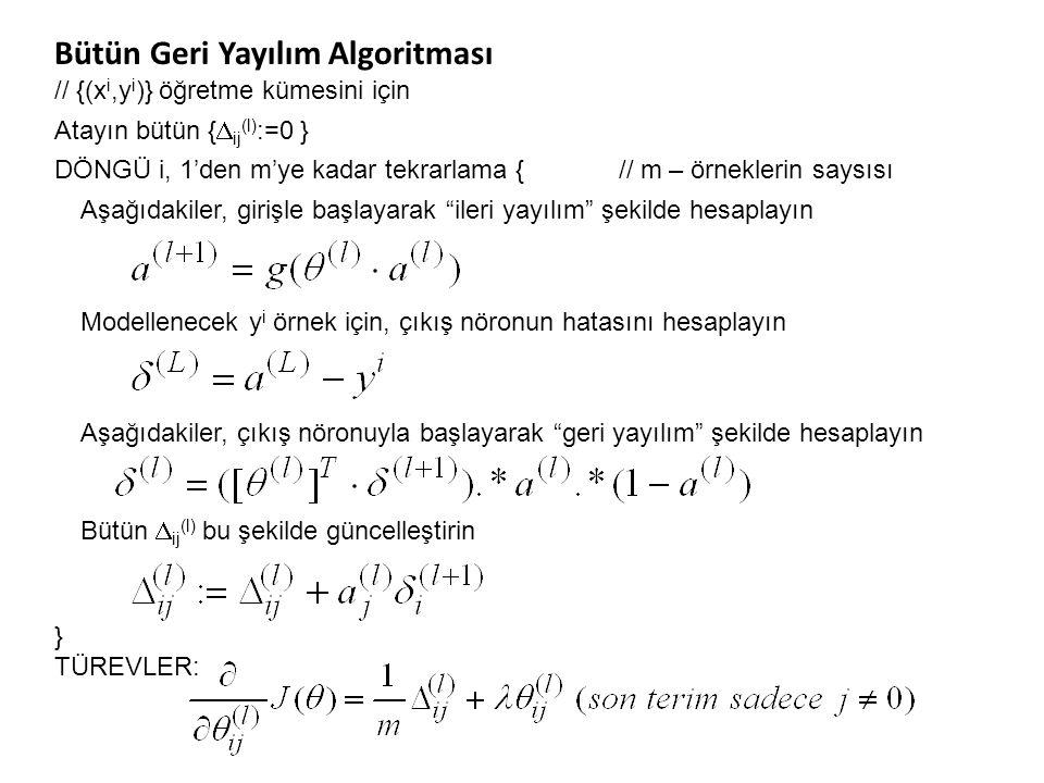 Bütün Geri Yayılım Algoritması // {(x i,y i )} öğretme kümesini için Atayın bütün {  ij (l) :=0 } DÖNGÜ i, 1'den m'ye kadar tekrarlama { // m – örnek