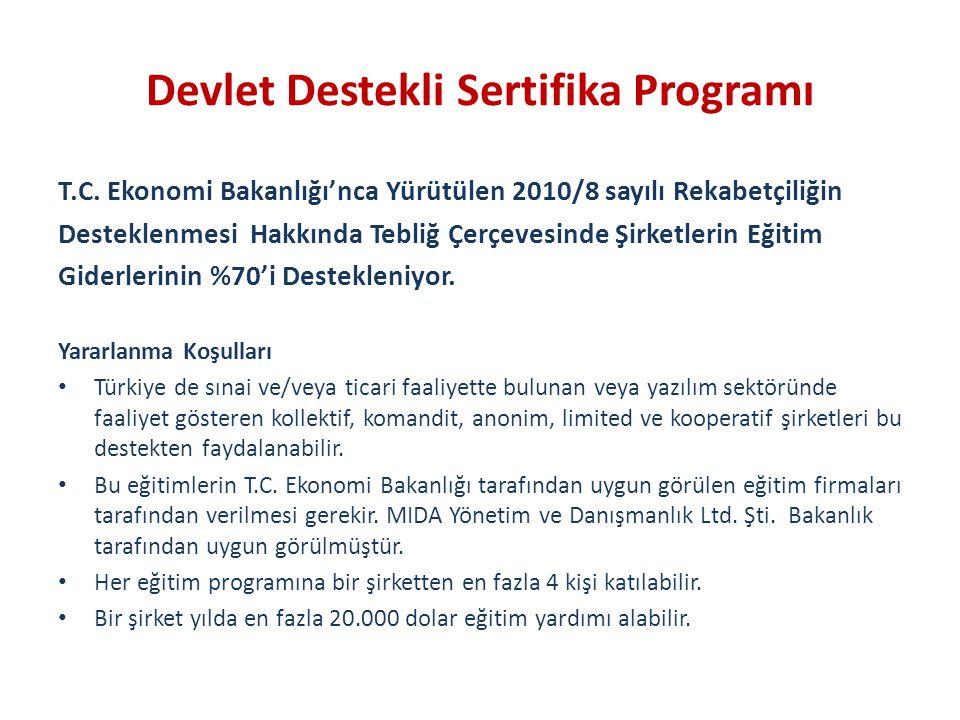 Devlet Destekli Sertifika Programı T.C. Ekonomi Bakanlığı'nca Yürütülen 2010/8 sayılı Rekabetçiliğin Desteklenmesi Hakkında Tebliğ Çerçevesinde Şirket