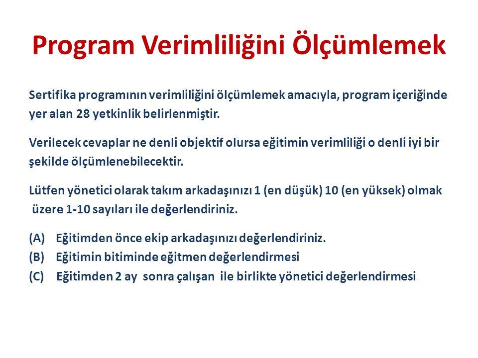 Program Verimliliğini Ölçümlemek Sertifika programının verimliliğini ölçümlemek amacıyla, program içeriğinde yer alan 28 yetkinlik belirlenmiştir. Ver