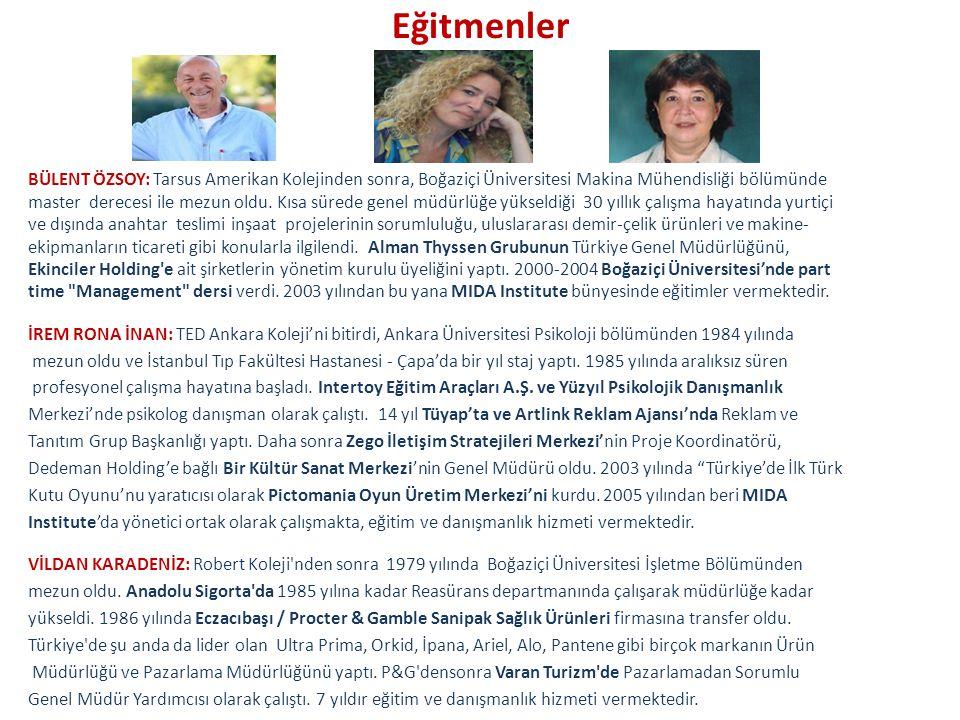 Eğitmenler BÜLENT ÖZSOY: Tarsus Amerikan Kolejinden sonra, Boğaziçi Üniversitesi Makina Mühendisliği bölümünde master derecesi ile mezun oldu.